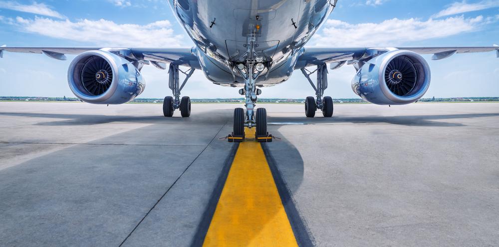 plane on landing strip